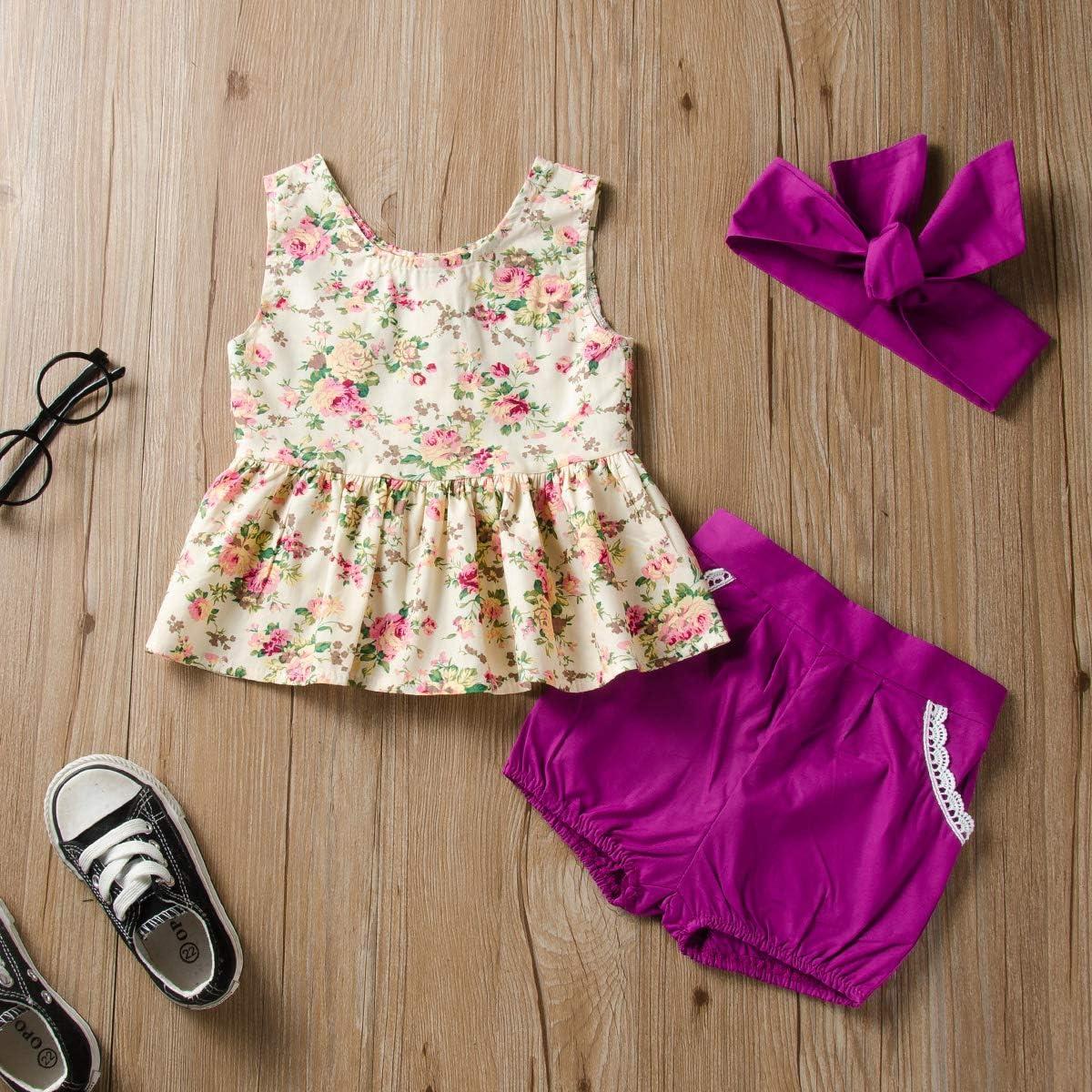 Shorts Tianhaik 0-24 Monate Kleinkind Baby M/ädchen Floral Weste Stirnband Kleidung Anzug Lila, 18-24 M