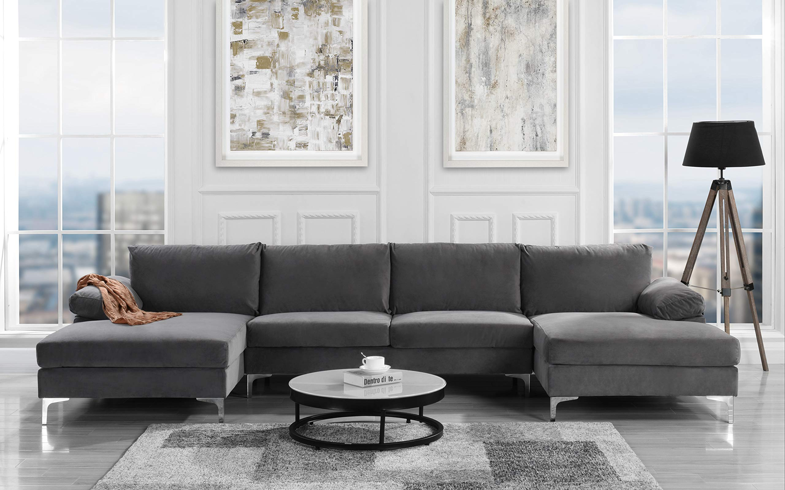 Modern Large Velvet Fabric U-Shape Sectional Sofa, Double Extra Wide Chaise Lounge Couch (Grey) by Sofamania