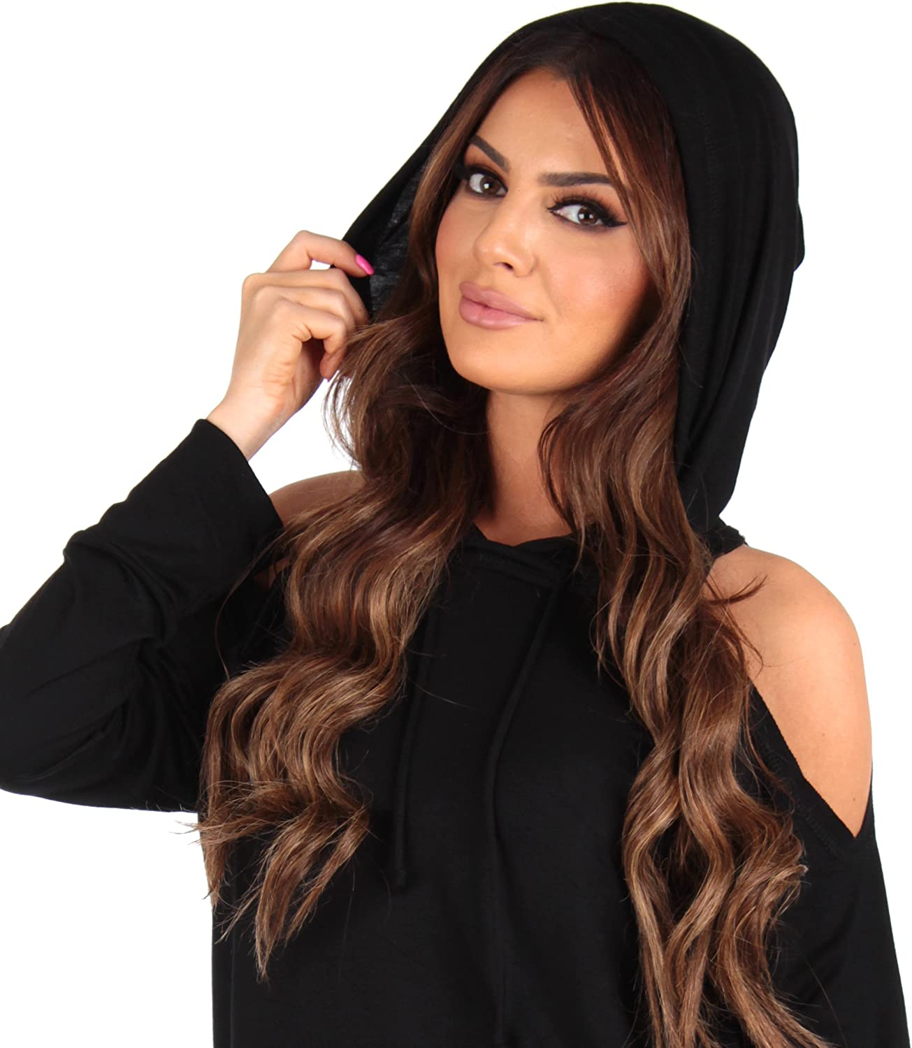 Made in USA Black Womens Open Shoulder Maternity Tunic with Hood by Rags and Couture
