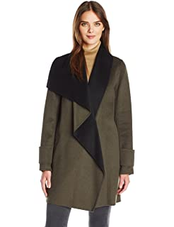 1be7100443b Amazon.com: Calvin Klein Women's Wool Coat with Pu Trim and Stand ...
