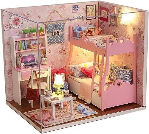 Lindo hágalo usted mismo Artesanía Miniatura Casa De Muñecas-Casa De Muñecas De Madera Y Luces-Rápido Post