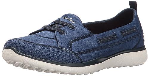 Skechers Microburst-Topnotch, Zapatillas sin Cordones para Mujer, Azul (Navy), 35.5 EU