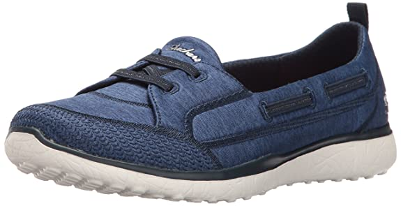 Skechers Damen Microburst-Topnotch Slip on Sneaker, Blau (Navy), 41 EU