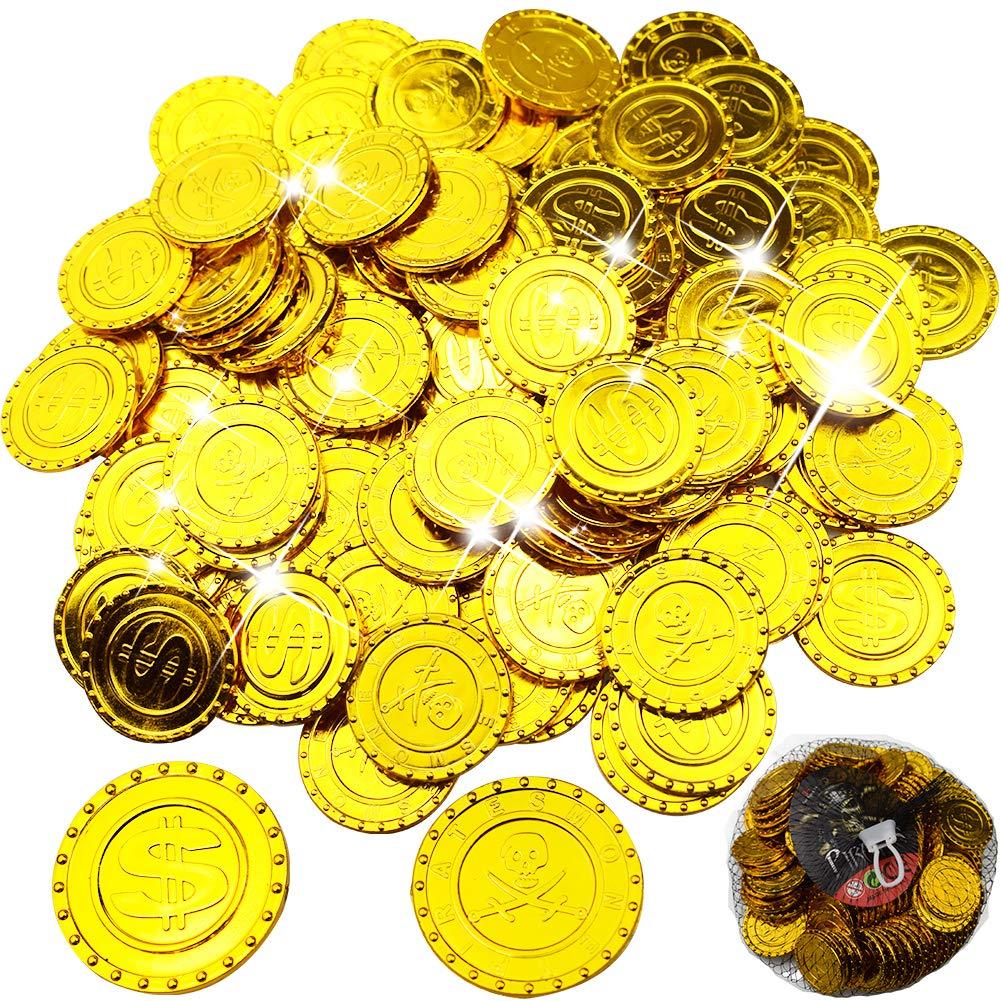 BESTZY 100 Pcs Pirate Gold Coins, Pirates Gold - Coins, Trésor de Pirate, Parti Pirate, Anniversaire des Enfants, Décoration, Jouer de l'argent (Signe du Dollar / Pirate à Double Couteau)