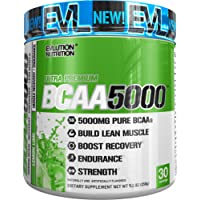 Evlution Nutrition BCAA5000 Powder (30 Servings, Lemon Lime) 5 Grams of Premium BCAAs
