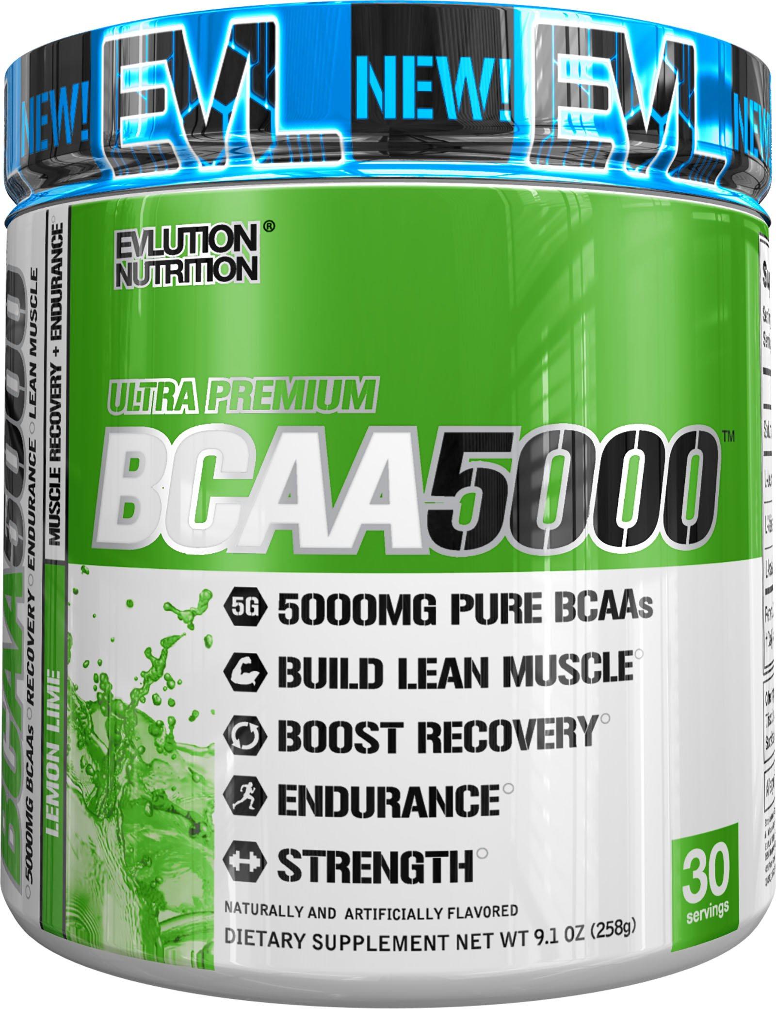 Evlution Nutrition BCAA5000 Powder 5 Grams of Premium BCAAs (Lemon Lime, 30 Servings)