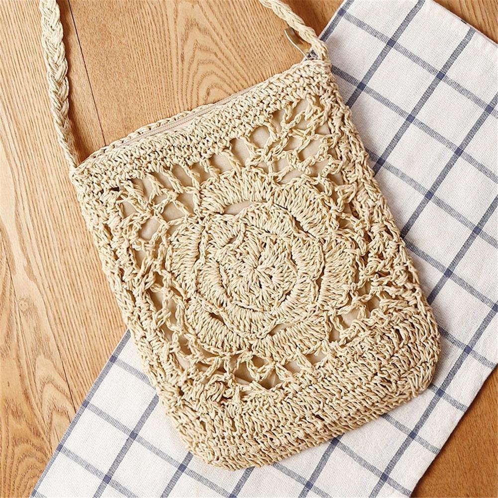 PERFECTSHOW Bolso hecho a mano del ganchillo Bolso hecho punto bolso de almacenamiento de la playa de la flor para las mujeres Bolso tejido a través del ...