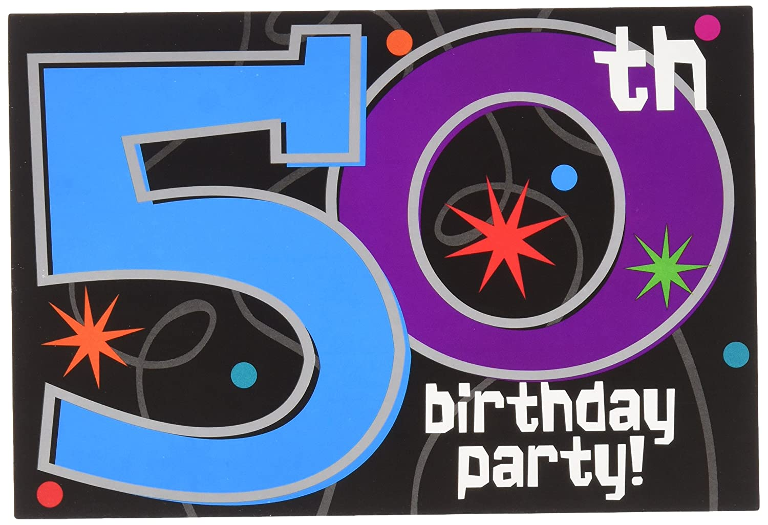 Amazon The Party Continuous 50th Birthday Invitations 8 Pieces Made From Paper 4 1 X 6 By Amscan Toys Games