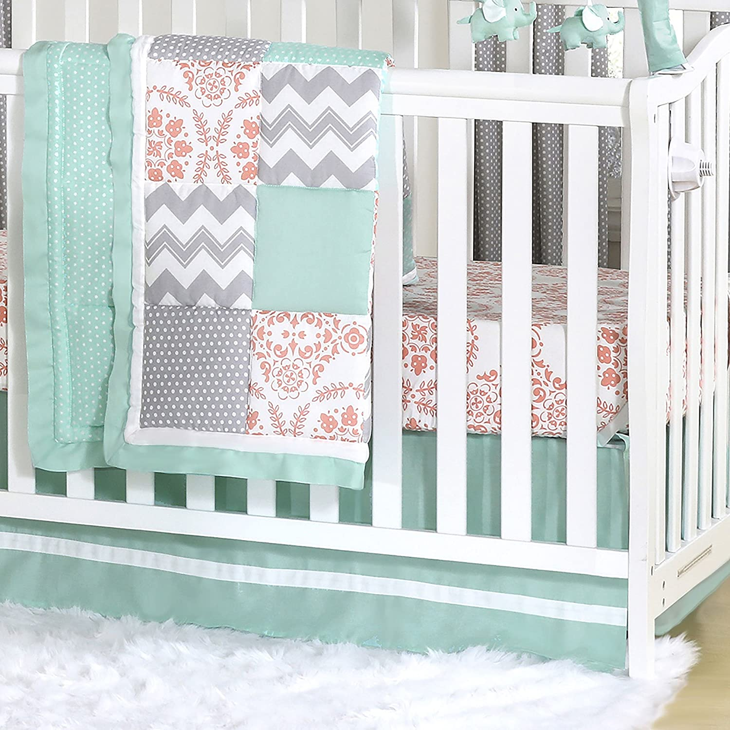 Mint, Coral and Grey Patchwork 3 Piece Baby Crib Bedding Set by The Peanut Shell by The Peanut Shell   B01KOO9RMI