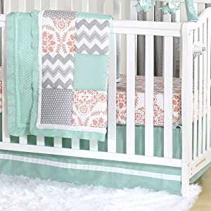 Mint, Coral and Grey Patchwork 3 Piece Baby Crib Bedding Set by The Peanut Shell