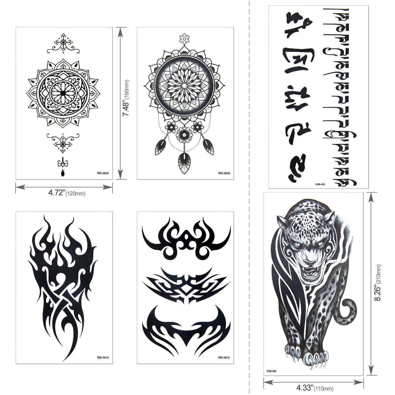 Full Arm Temporary Tattoo, Konsait Extra Temporary Tattoo Black tattoo Body Stickers for Man Women (18 Sheets) by Konsait (Image #3)