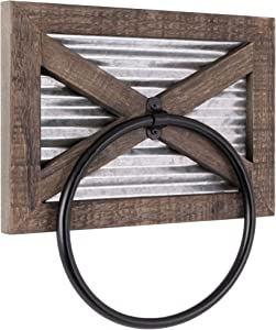 Autumn Alley Rustic Barn Door Bathroom Towel Ring | Wall Mounted Farmhouse Hand Towel Holder | Barn Wood, Galvanized Corrugated Metal and Black Ring Combine Perfectly for Country Charm