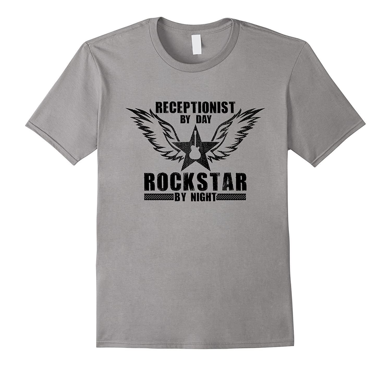 Receptionist by Day  Rockstar by Night T-Shirt Black-TD