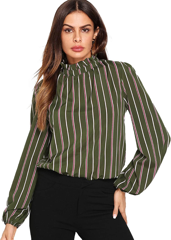 Romwe Womens Elegant Striped Stand Collar Workwear Blouse Top Shirts Green X-Small