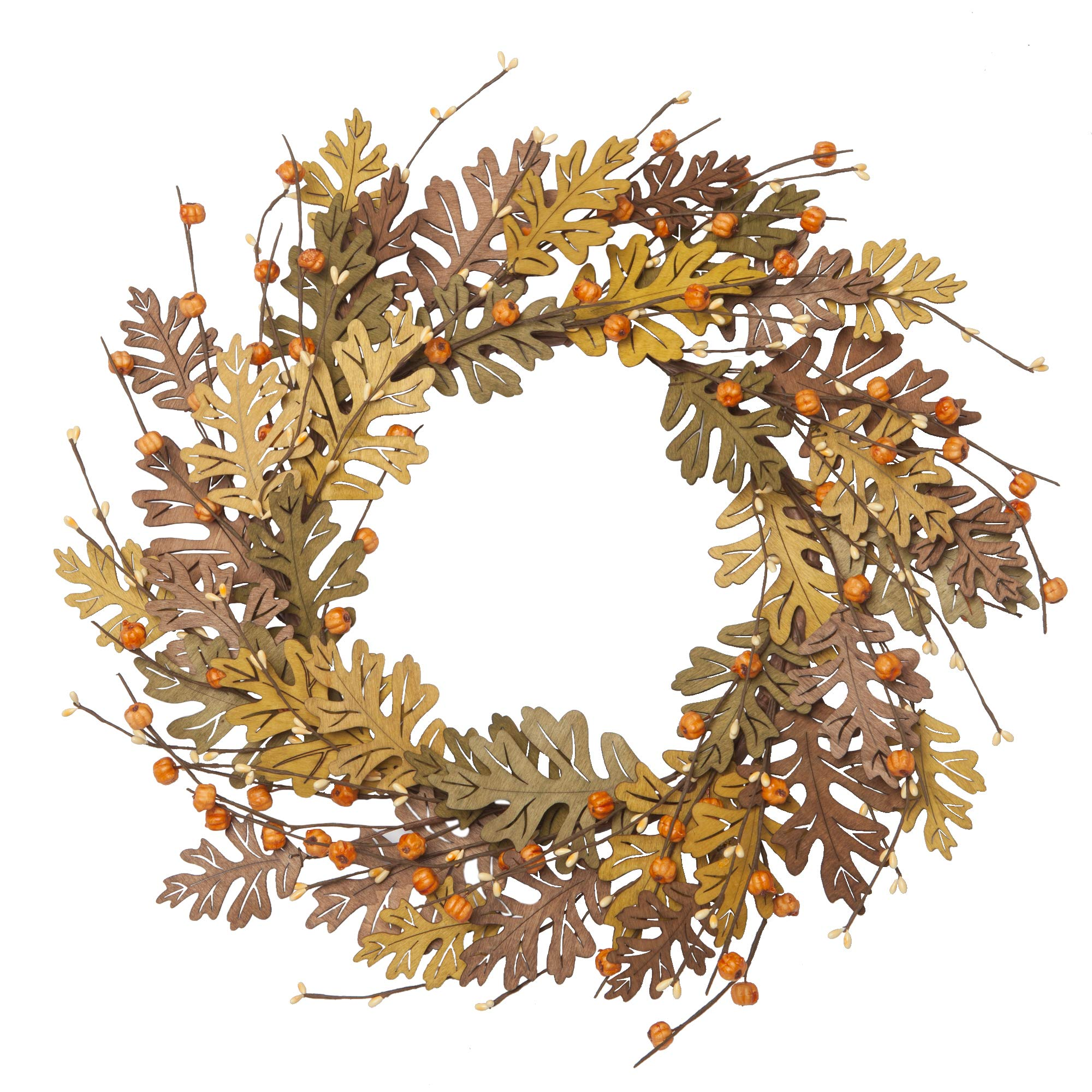 VGIA 18 Inch  Fall Wreath Fall Decorations for Home  Front Door Wooden Autumn Leaves Wreath  Autumn Harvest Wreath by VGIA