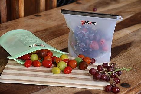 Bolsas de silicona reutilizables sin BPA hermético para almacenamiento de alimentos con aislamiento ecológico, contenedores de almacenamiento de alimentos ...