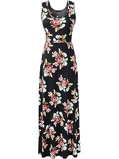 a174ed69ae Luckco Women's Sleeveless Floral Print Causal Long Maxi Beach Tank Dresses