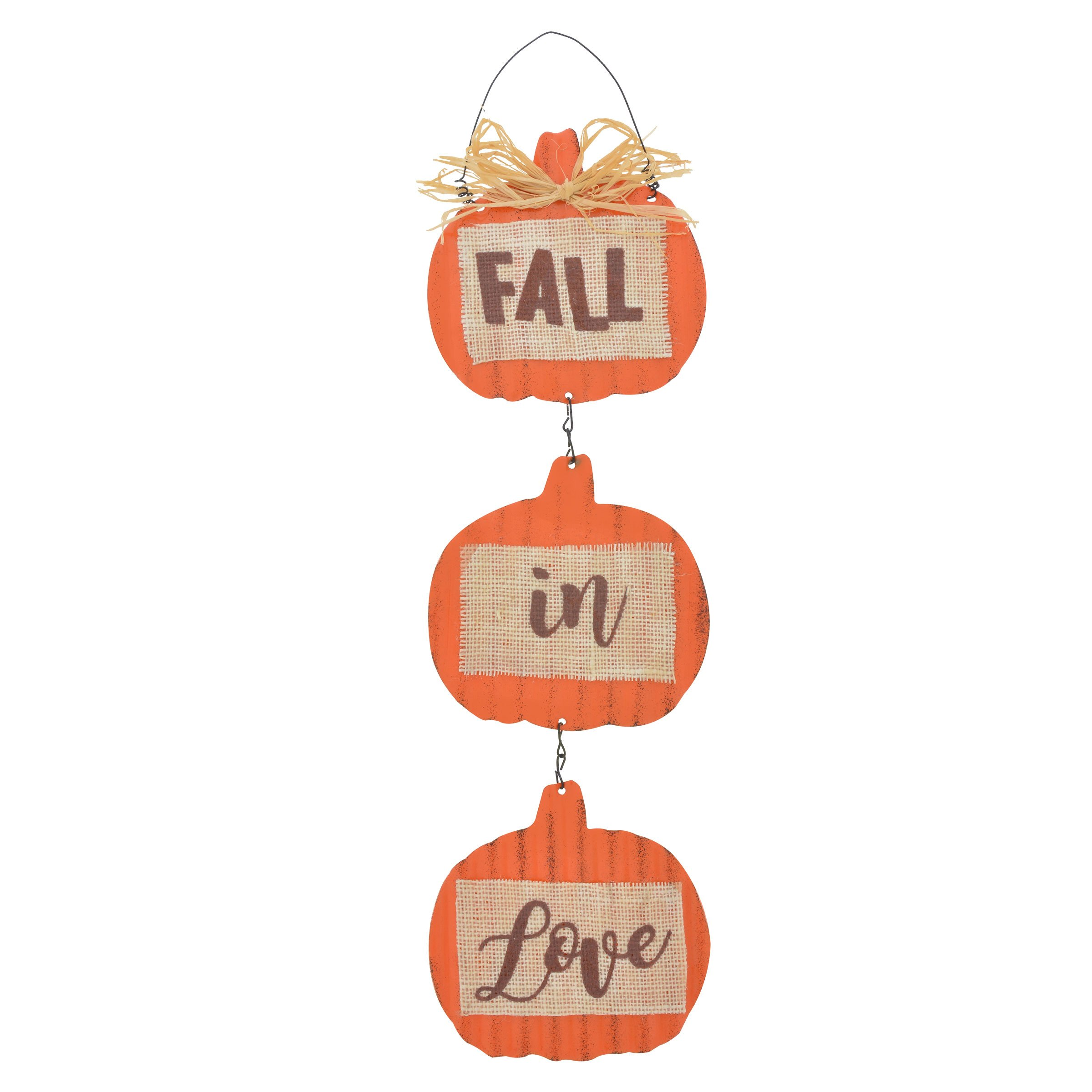 Rustic Looking Metal Sign Fall Themed 20-inch Pumpkins With Burlap Thanksgiving Door Decoration for Home Welcome (Fall in Love)