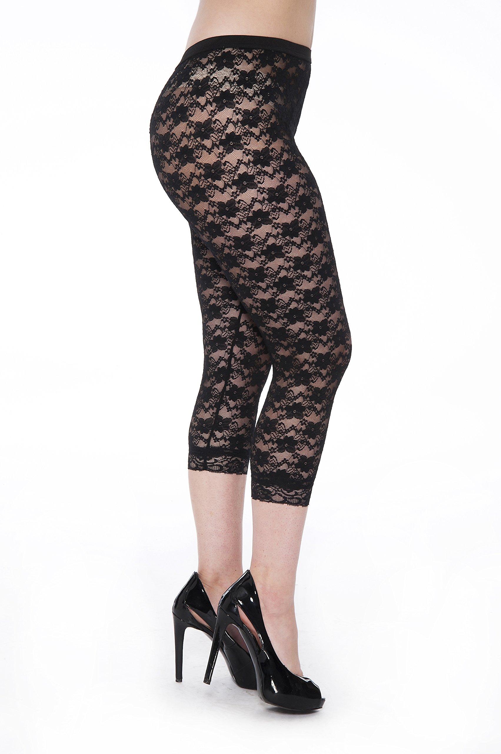 Unique Styles Lace Capri Leggings Tights Soft Stretchy Floral Pattern Pants Black White Pink (XX-Large, Black)