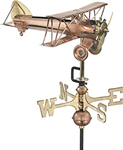 Good Directions Biplane Weathervane with Garden Pole, Pure Copper, Airplane Weathervanes, Aviation Décor