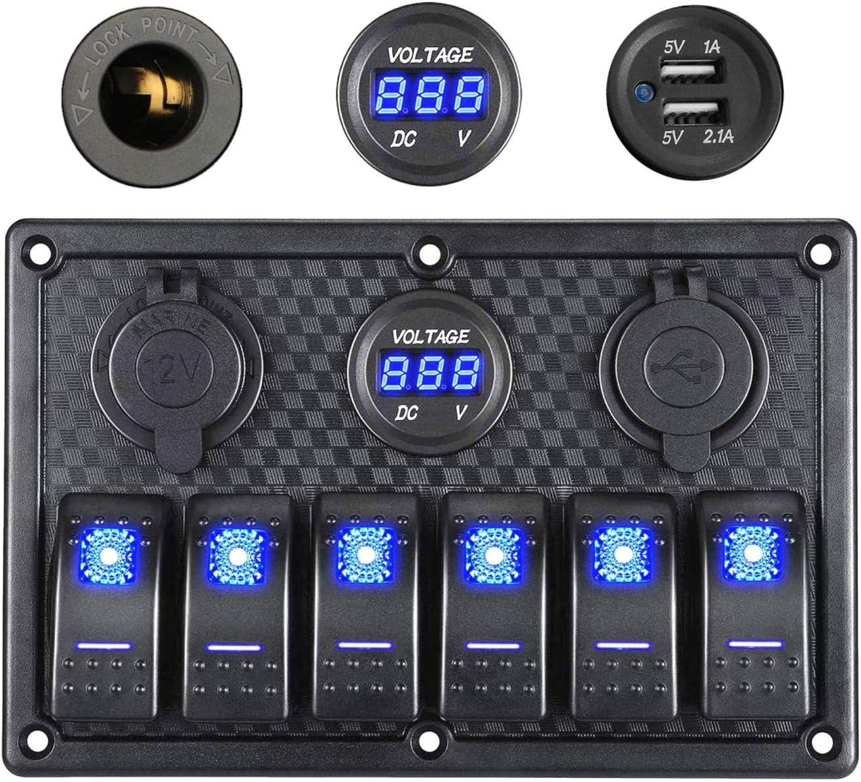 Thlevel Panel de Interruptores Basculantes a Prueba de Agua de 6 Pandillas, Pantalla de Voltaje Digital de 12 V / 24 V, Enchufe de Cargador USB Doble de 5 V