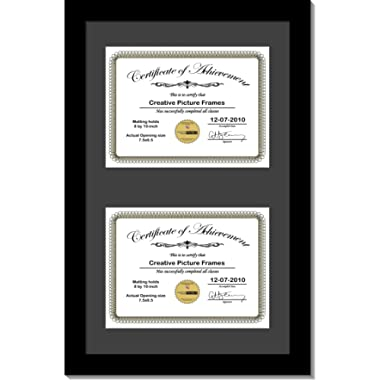CreativePF [14x20bk-b] Black Vertical Double Diploma Frame with 2 Opening Black Matting | Holds 2-8x10-inch Documents with Installed Wall Hanger