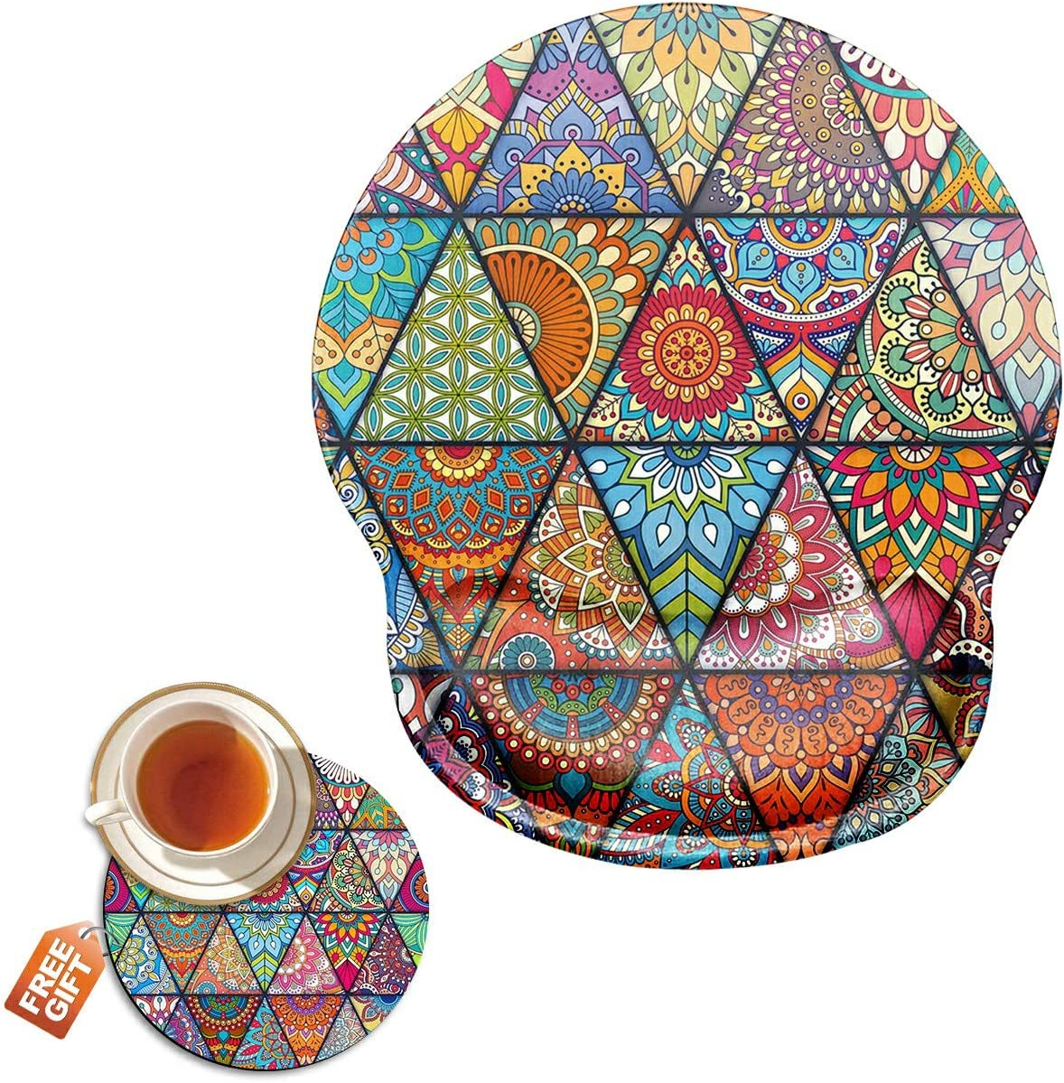 Mouse Pad with Wrist Support Gel Ergonomic Gaming Mousepad with Wrist Rest for Laptop Colorful Diamond Colorful Diamond Computer Home Office Working Mouse Mat + A Cute Coffee Pad