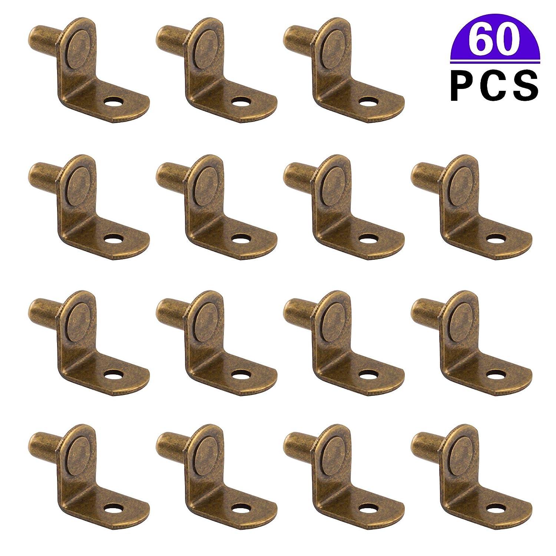 estanter/ías 60 pinzas de soporte para estante de armario de 6 mm color bronce en forma de L para armarios muebles de cocina