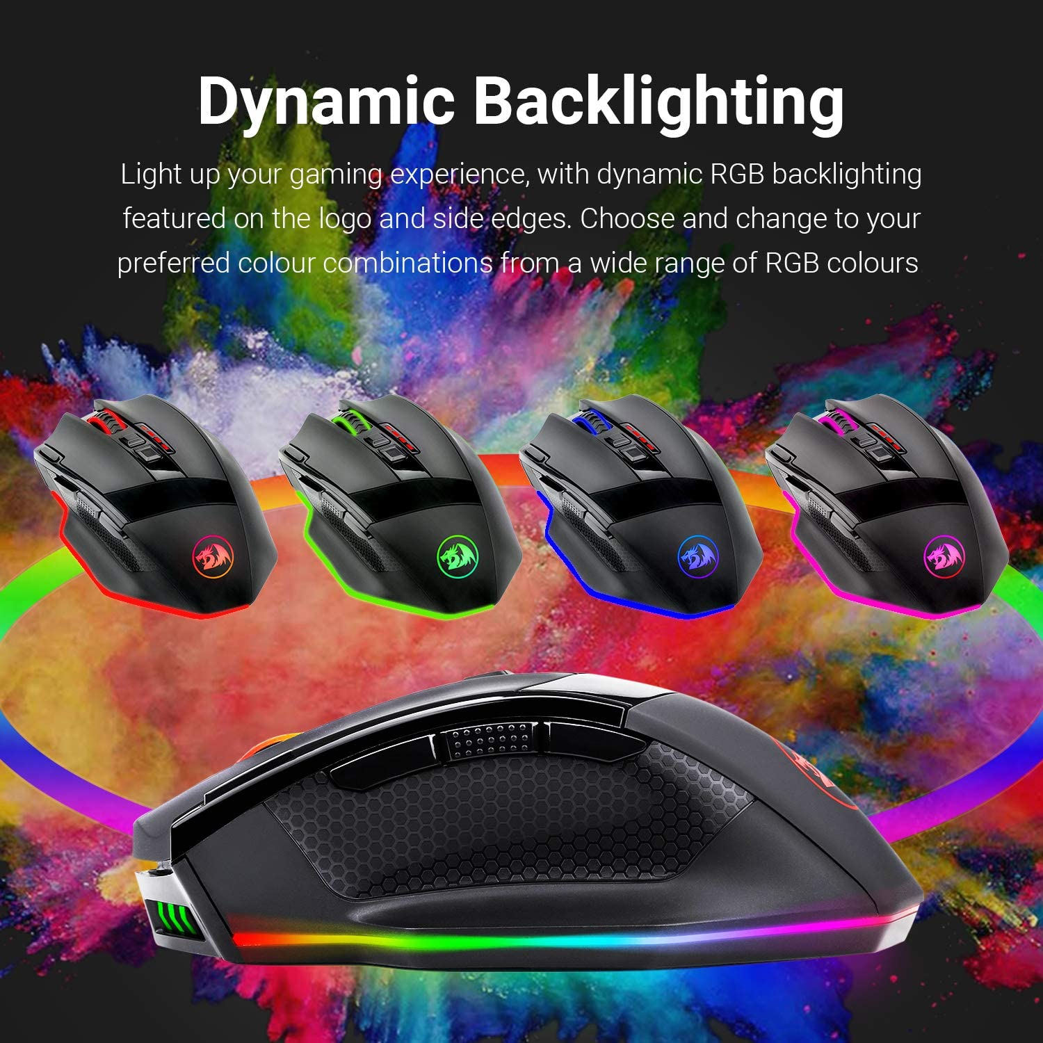 Redragon M801 PC Gaming Mouse LED RGB Backlit MMO 9 Programmable Buttons Mouse with Macro Recording Side Buttons Rapid Fire Button for Windows Computer Gamer Wireless, Black