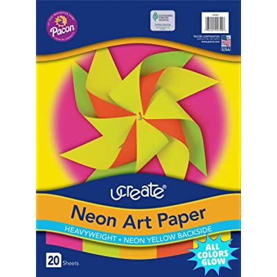 "Pacon Neon Art Paper, 9"" x 12"", 20-Count, Assorted (104300)"
