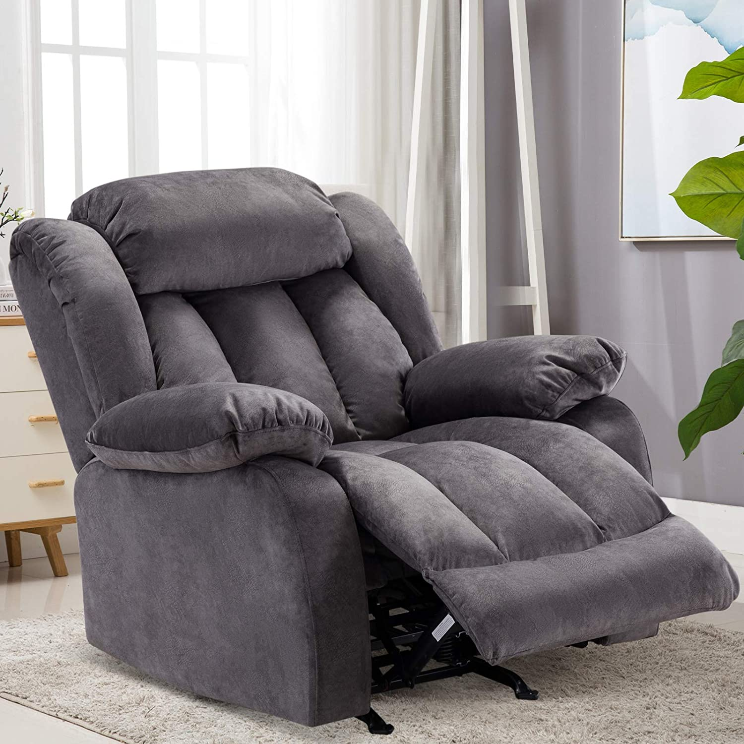 Bonzy Home Rocker Recliner Chair for Living Room, Soft Fabric Reclining Chair Oversized (Grey)