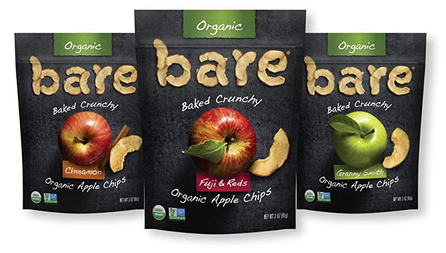 apple chips. amazon.com: bare organic apple chips, variety pack, gluten free + baked, 3 ounce, 6 count chips
