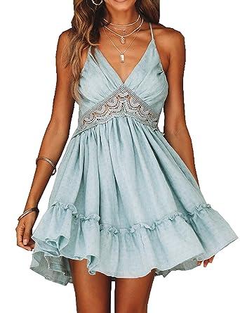a8ba8dd4f1 Murimia Women s V-Neck Spaghetti Strap Backless Floral Lace Mini Skater  Dress Blue