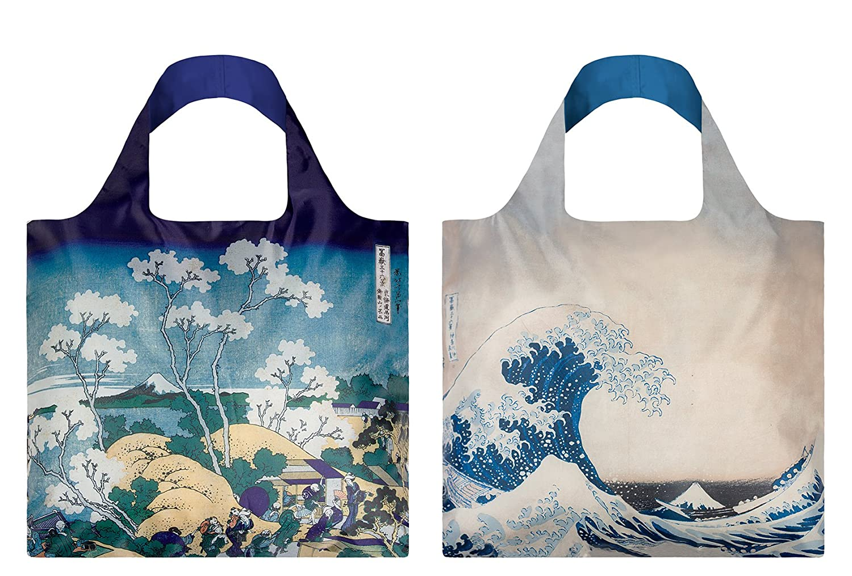LOQI HO-PK「北海Mt Fuji/The Great Wave」再利用可能なショッピングバッグ (2個パック) B07DCNCCJM