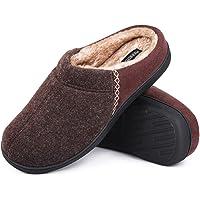 MERRIMAC Men's Fuzzy Woolen Memory Foam Indoor House Slippers with Fluffy Faux Fur Lining