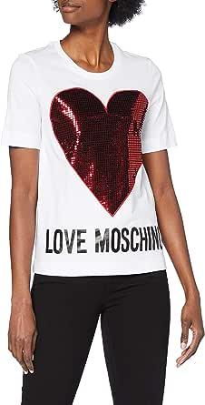 Love Moschino Short Sleeve T-Shirt_Sequin Heart + Logo Camiseta, Multicolor, 42 para Mujer