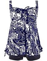 Hilor Women's Plus Size Floral Halter Tankini Set Two Piece Swimsuit