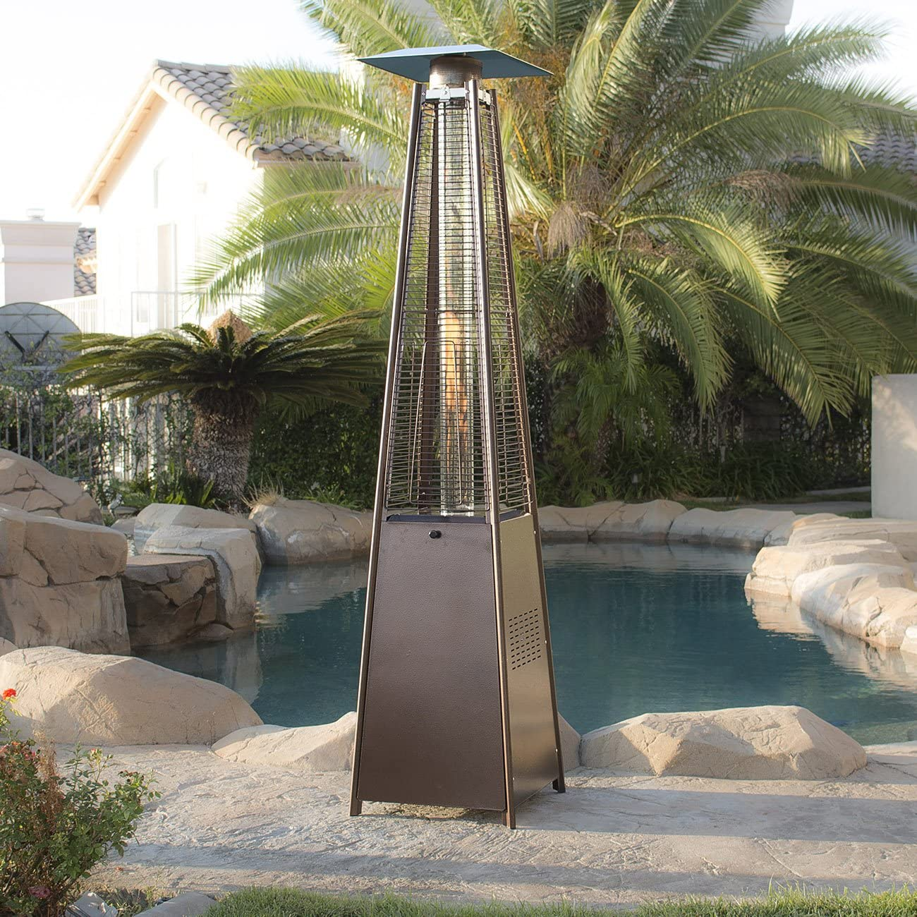 Belleze Outdoor Patio Heater Pyramid w Dancing Flame with Wheel, CSA Certified, 42,000 BTU Heat- Hammered Bronze