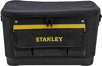 STANLEY 1-96-193 - Bolsa para herramientas con tapa plana, 44.7 x 26.2 x 25.1 cm, base reforzada: Amazon.es: Bricolaje y herramientas