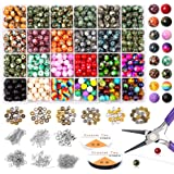 Yholin 1580pcs Chakra Beads Kit, 8mm 18 Colors Acrylic Round Glass Beads in Different Pattern with Wood Beads,Lava Beads…