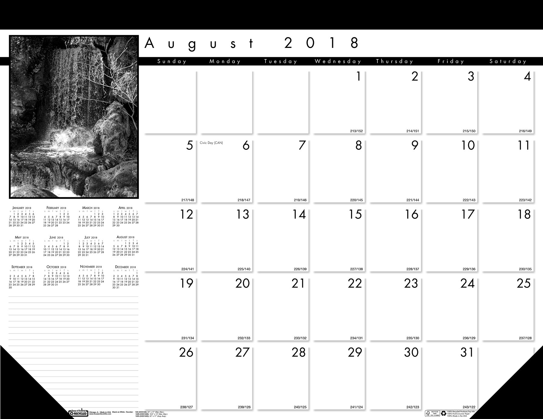 House of Doolittle 2018 - 2019 Monthly Desk Pad Calendar, Academic, Black On White, 22 x 17 Inches, August to August (HOD1225 -19)