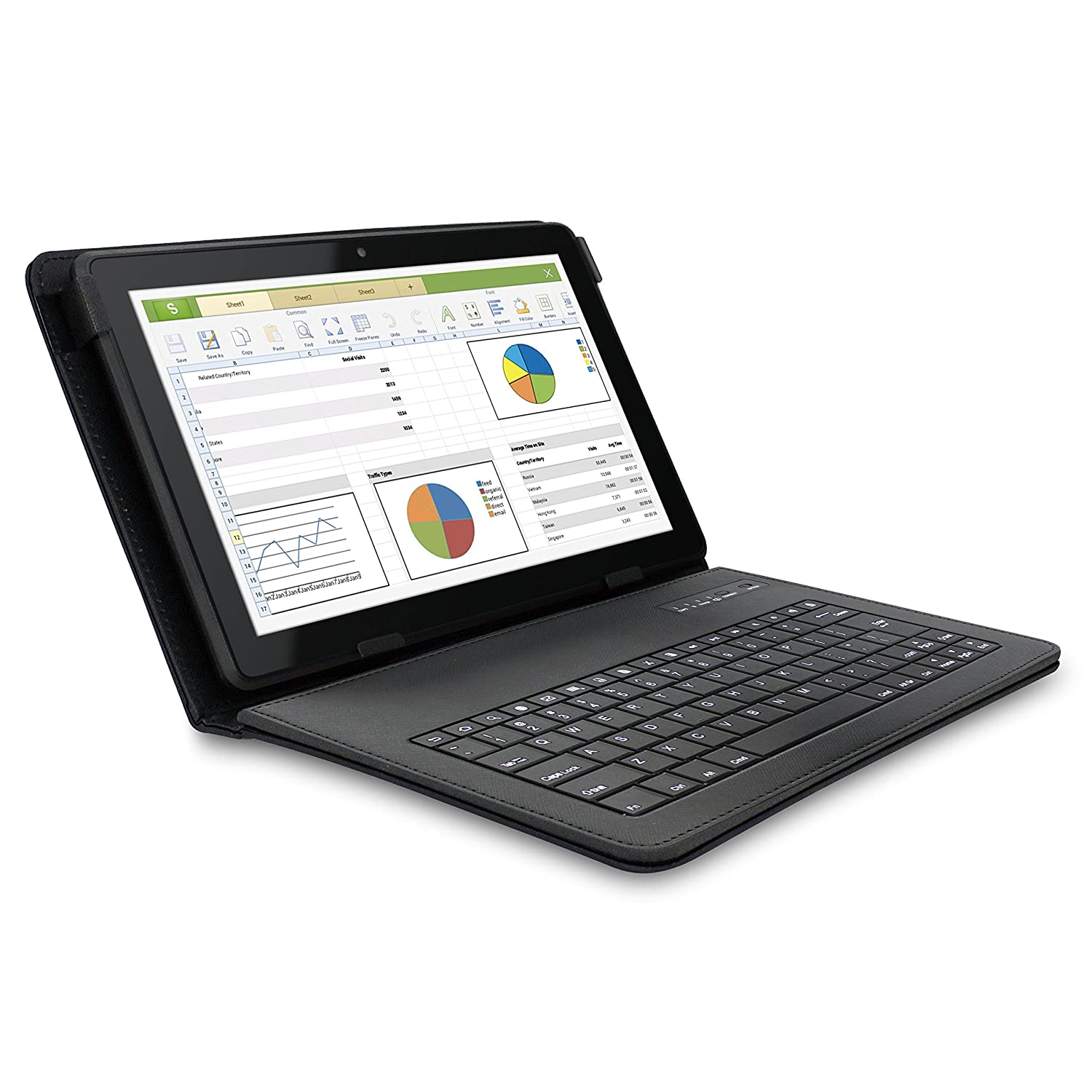 Amazon.com: RCA Pro10 Edition 10.1 Inch Tablet with Folio Keyboard Case and Dual Camera - 16GB (Android 4.2.2 Jelly Bean, Google Play), ...