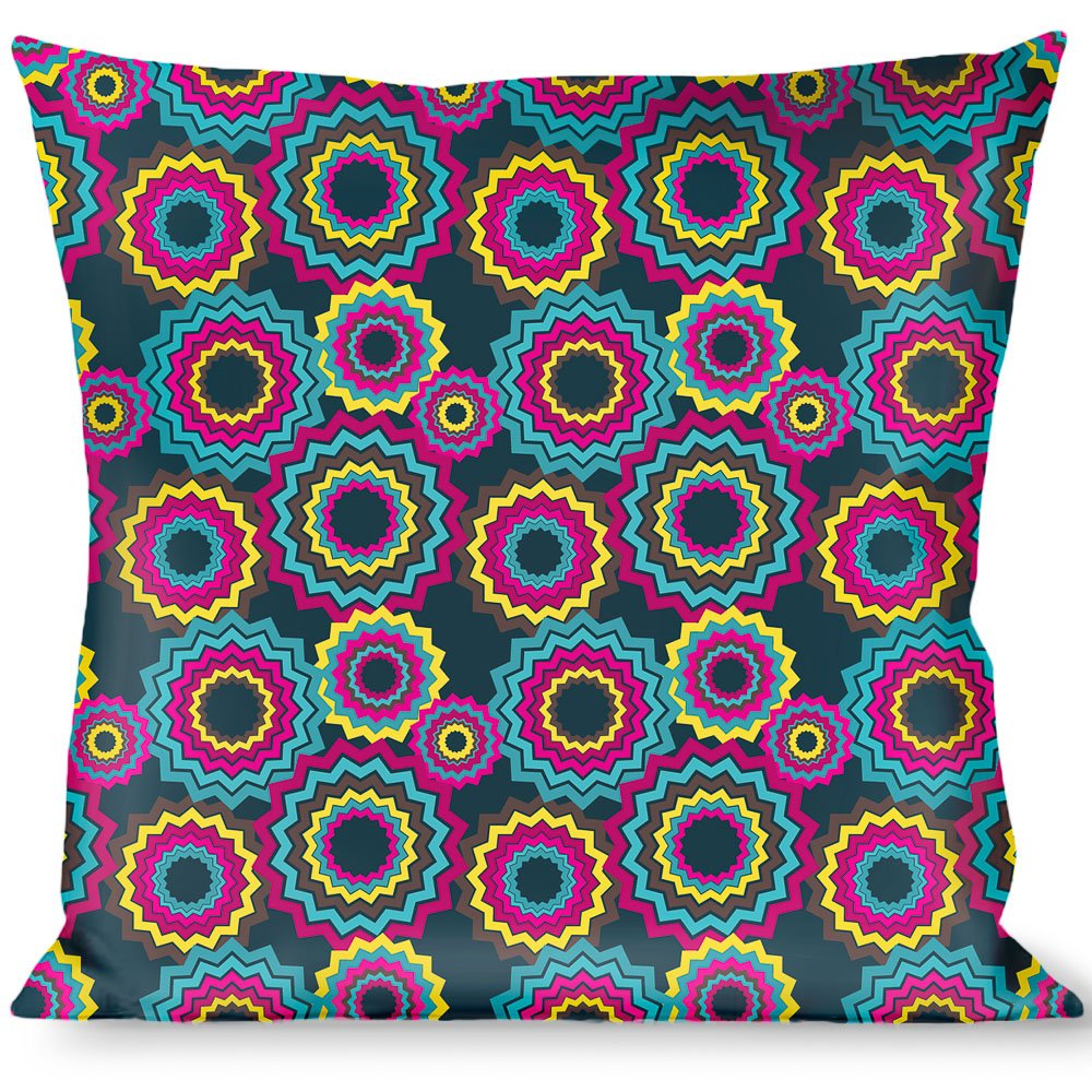 Buckle Down Jagged Rings Teals/Fuchsia/Yellow Throw Pillow, Multicolor