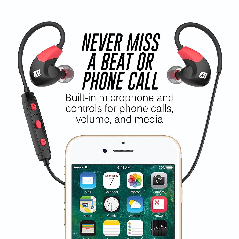 MEE Audio X7 Bluetooth inalámbrico Auriculares in-Ear con micrófono y batería Dual - Rojo/Negro: Amazon.es: Electrónica
