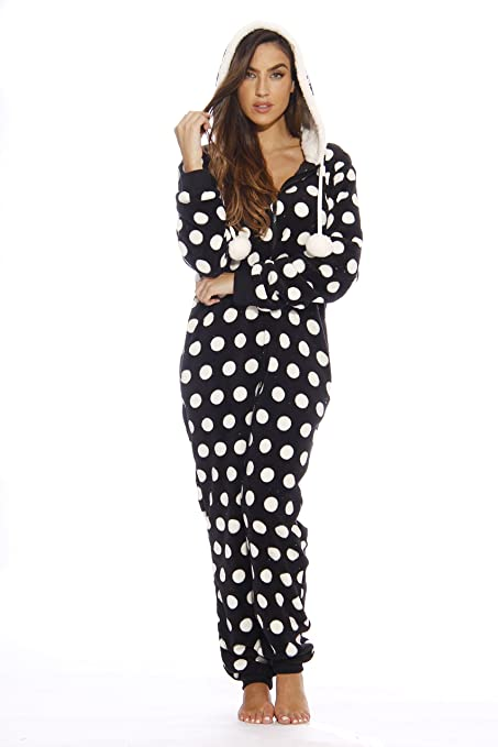 83b17d43facf Pretty Soft Black White Polka Dot Womens Adult Size One Piece Hooded Pajamas
