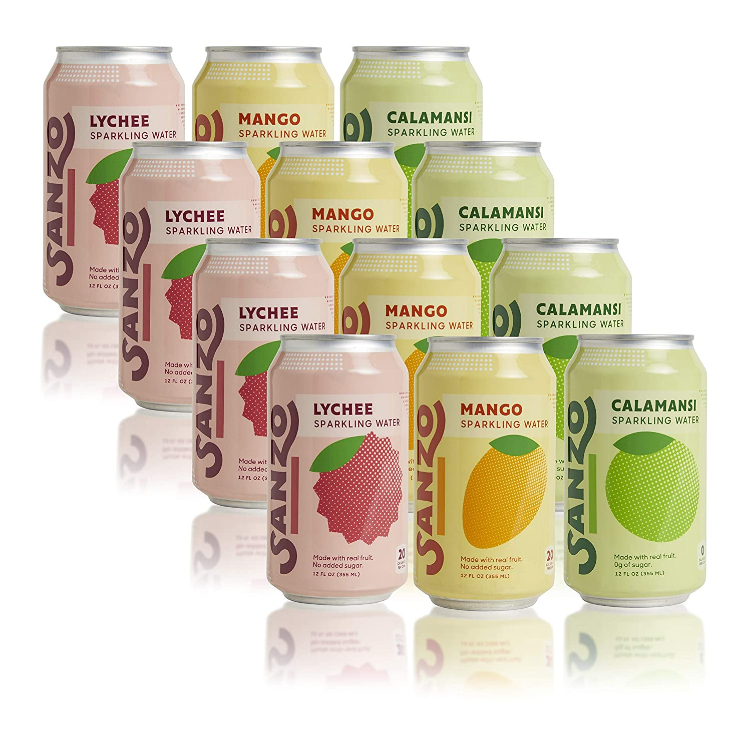 Sanzo Flavored Sparkling Water Variety Pack - 12-Pack - Calamansi (Lime), Lychee (Berry) and Mango (Alphonso) - Made with Real Fruit and Sugar-Free - Non-GMO, Gluten-Free and Vegan - 12 Fl Oz Cans