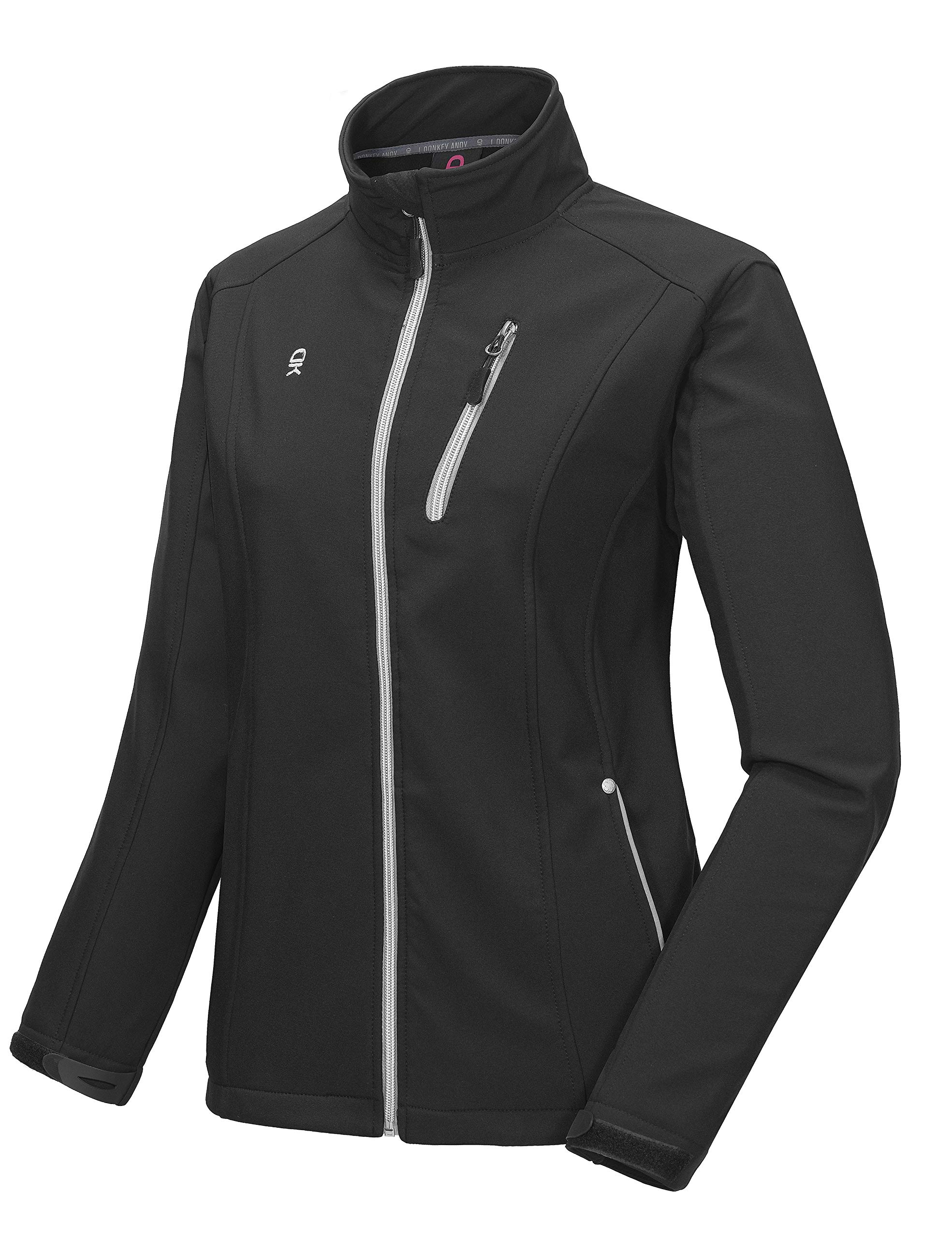 Little Donkey Andy Women's Softshell Jacket, Fleece Lined and Water Repellent Black Size L by Little Donkey Andy