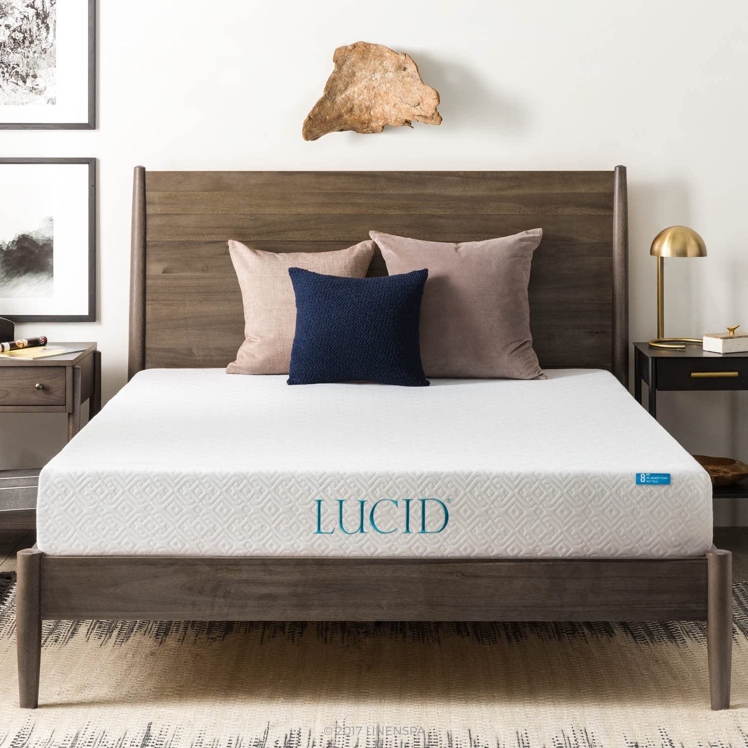 LUCID 8 Inch Gel Infused Memory Foam Mattress – Medium Firm Feel – CertiPUR-US Certified – 10-Year warranty – King