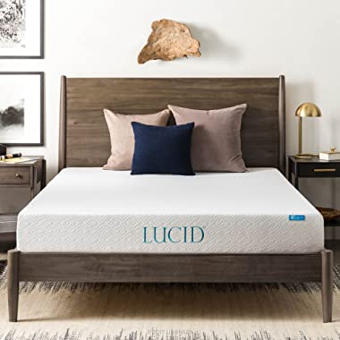 LUCID 8 Inch Gel Infused Memory Foam Mattress - Medium Firm Feel - CertiPUR-US Certified - 10-Year warranty - King