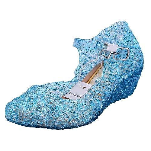 24a30549cf Tyidalin Niña Bailarina Zapatos de Tacón Disfraz de Princesa Zapatilla de Ballet  para 3 a 12 Años Azul EU28-33: Amazon.es: Zapatos y complementos
